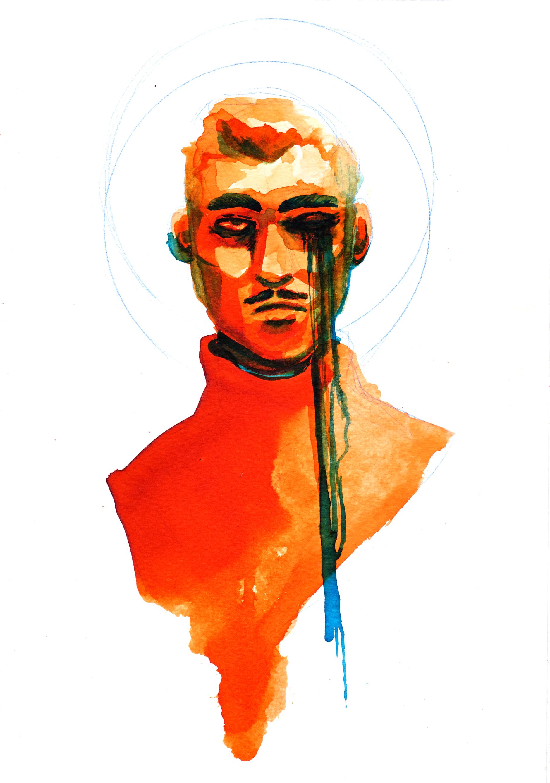 brown, man, aesthetic, illustration