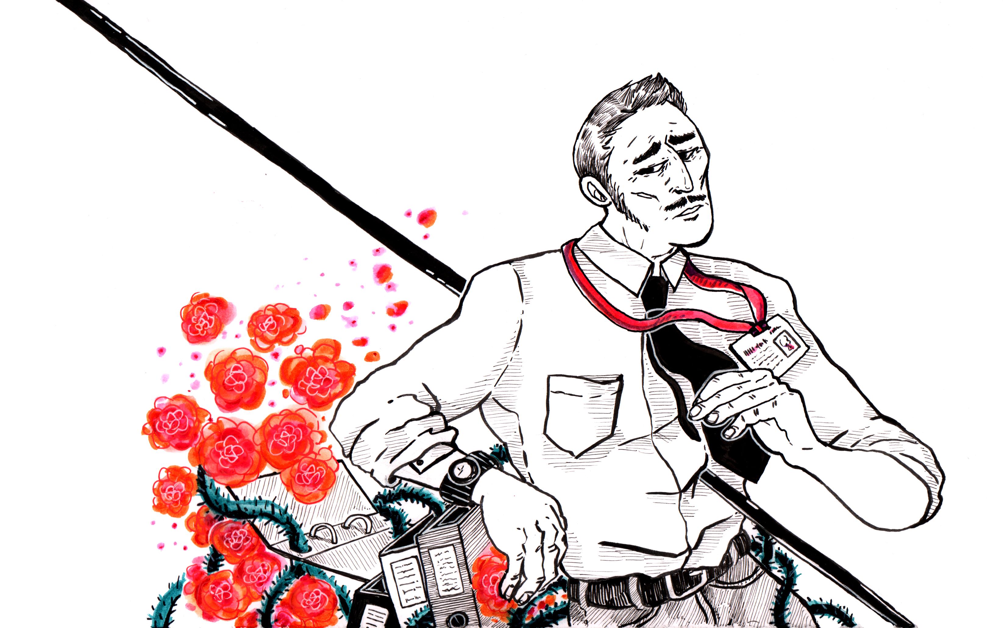 illustration, red, black and white