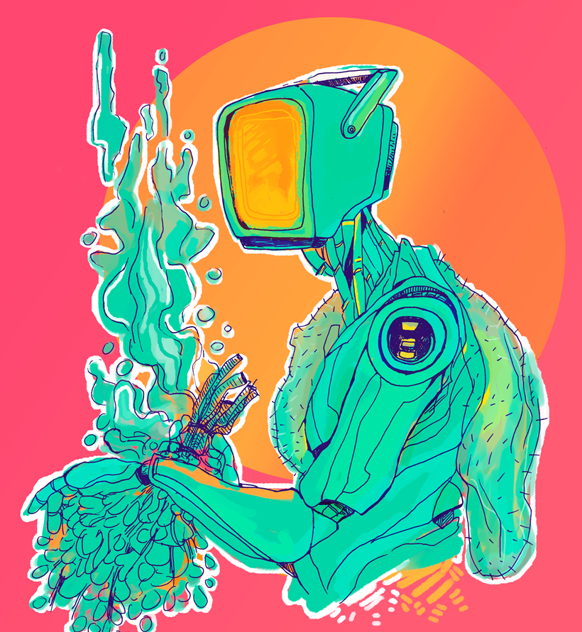 TV Head, aesthetic, illustration