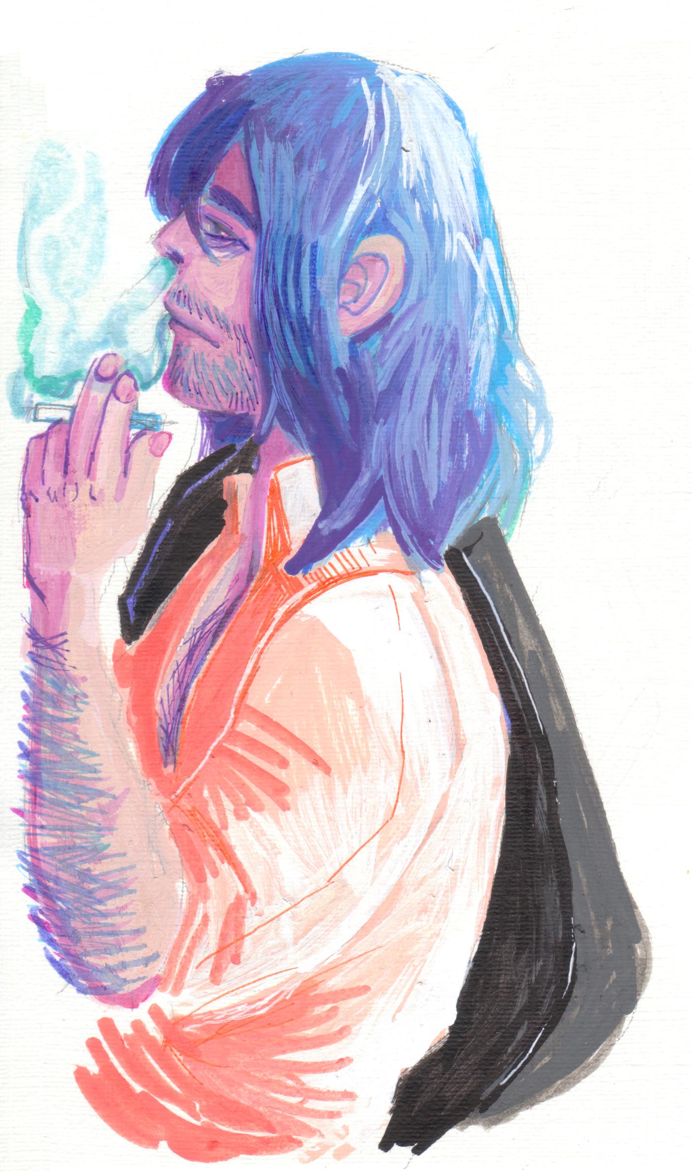 Aizawa, Smoking, markers, illustrations, BNHA, MHA